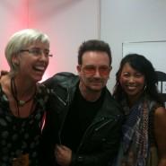 Hallo kurz vor dem Konzert bei Bono, dem Gründer von ONE, backstage